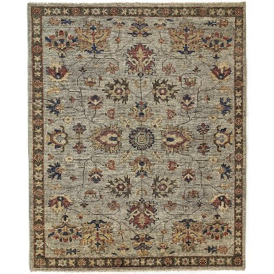 Feizy Carrington Traditional Oushak Area Rug, Geometric Floral, Gray/Gold, 7ft-9in x 9ft-9in