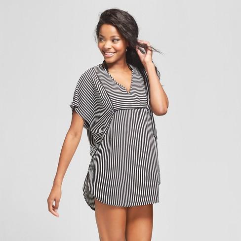 30f294d951aa6 Women s Woven Kaftan Cover Up Dress - Xhilaration™ Black Stripe   Target