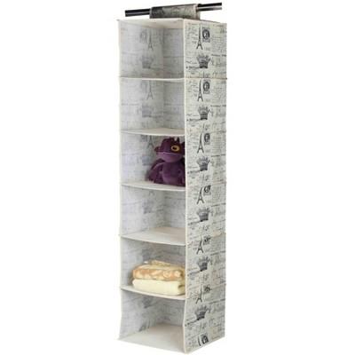 Home Basics Paris Collection 6 Shelf Closet Organizer, Natural
