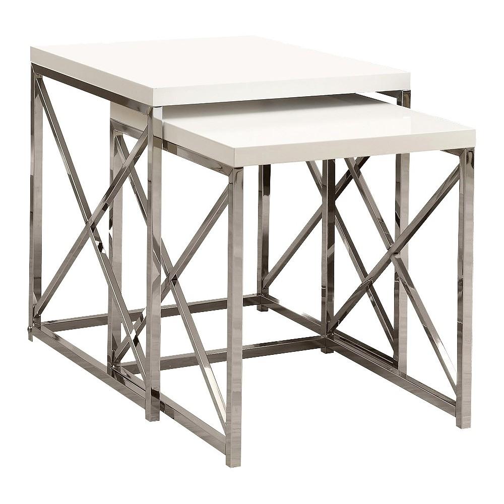 Nesting Table Set, 2-Piece Set - White- EveryRoom, White