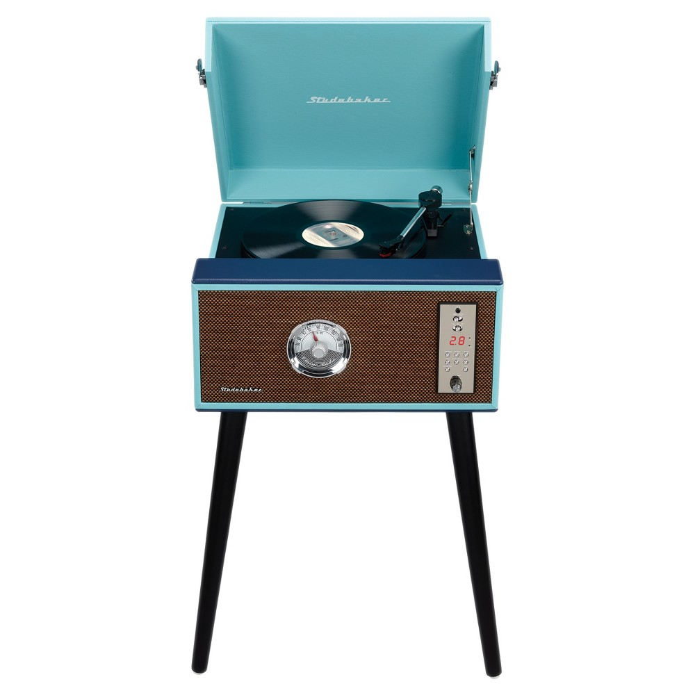 Studebaker Floor Stand Turntable with BT Receiver, CD Player, Analog FM Radio (SB6085) - Teal (Blue)
