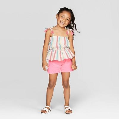 Mila & Emma Toddler Girls' 2pc Peplum Tank and Shorts Set - Pink 4T