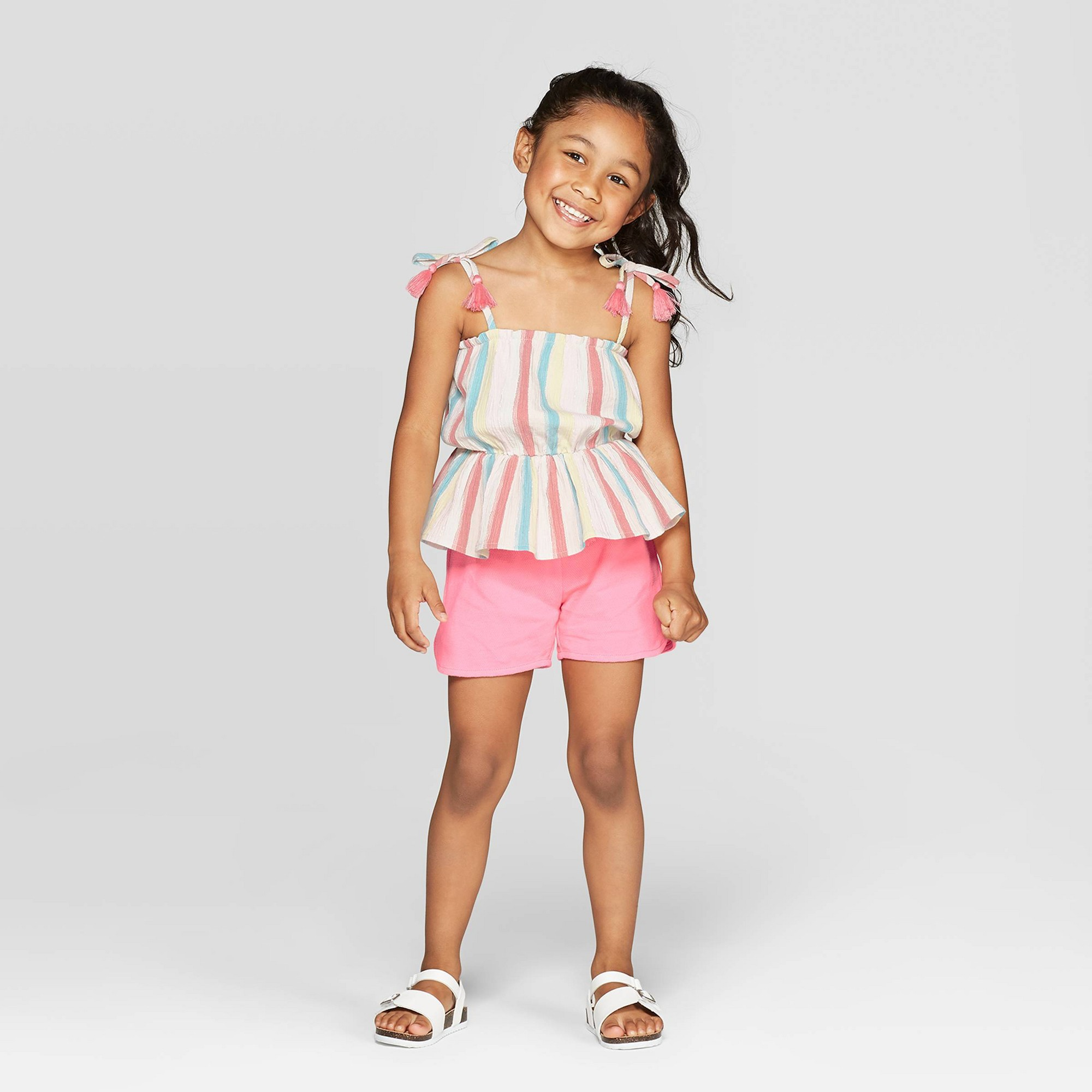 Mila & Emma Toddler Girls' 2pc Peplum Tank and Shorts Set - Pink 2T
