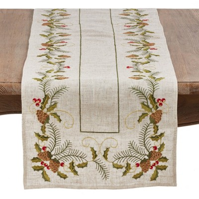 """16""""x108"""" Embroidered Pinecone and Holly Runner Natural - Saro Lifestyle"""