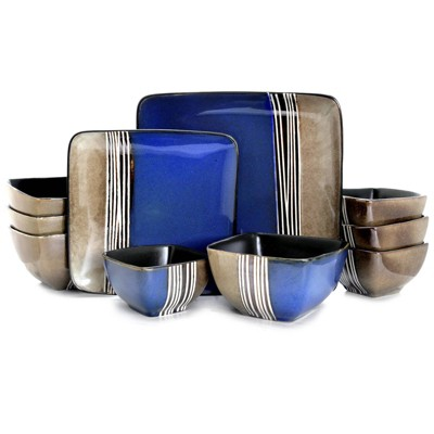 16pc Stoneware Double Color Square Dinnerware Set Brown/Blue - Elama