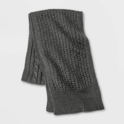 Men's Knit Scarf - Goodfellow & Co™ Charcoal Heather One Size