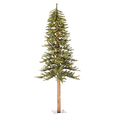 6ft Pre-Lit Artificial Christmas Tree Slim Natural Alpine - Clear ...