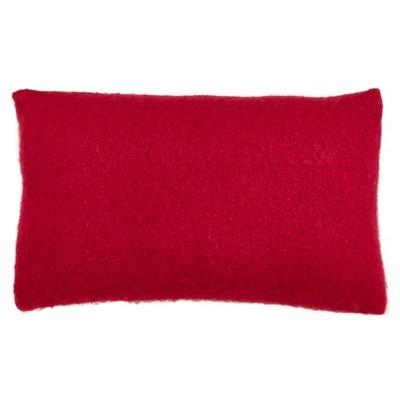 "14""x23"" Faux Mohair Poly Filled Lumbar Throw Pillow Red - Saro Lifestyle"
