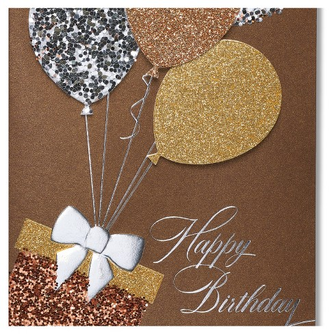 Papyrus Glitter Balloons Birthday Card Target