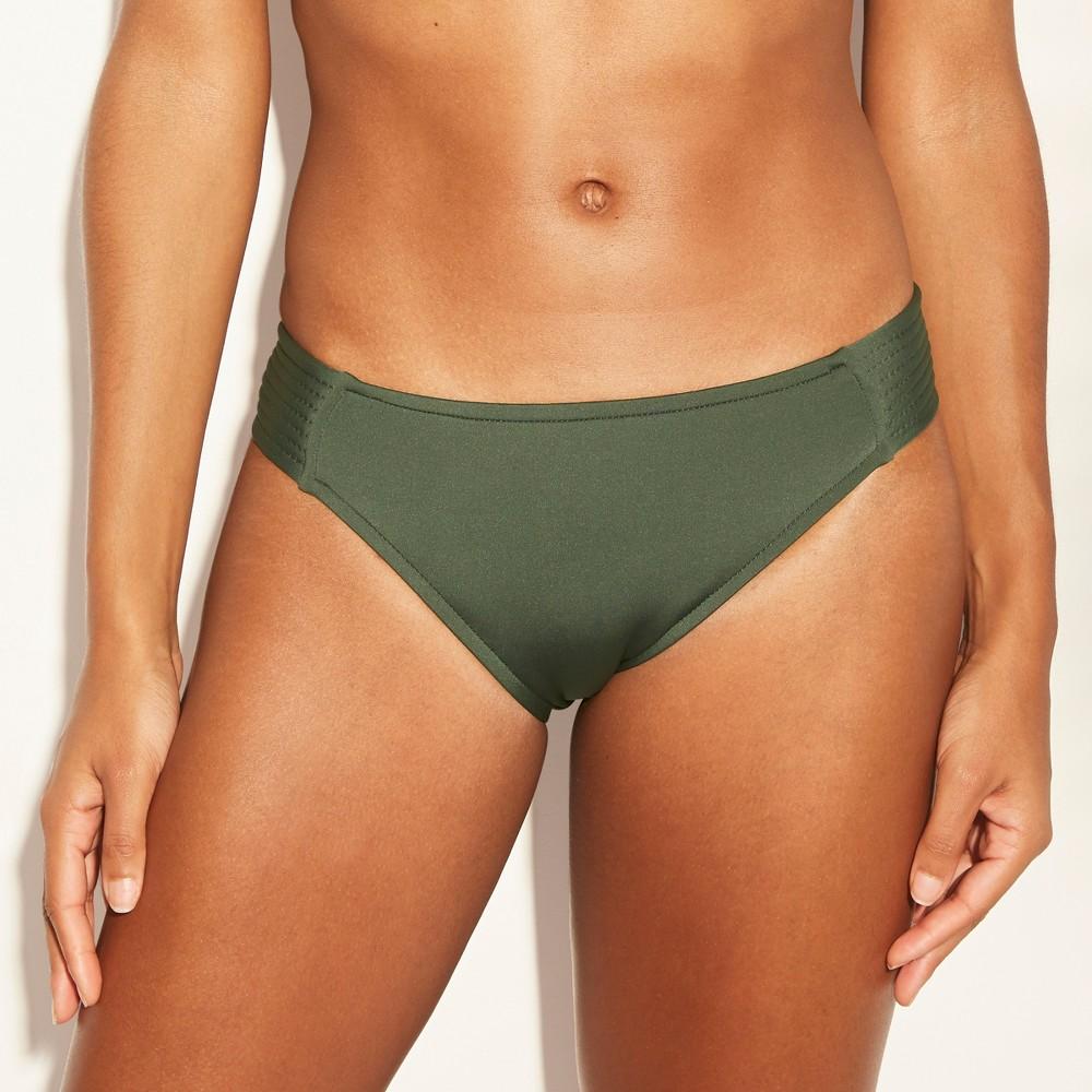 Women's Medium Coverage Tab Side Hipster Bikini Bottom - Kona Sol Dark Green L