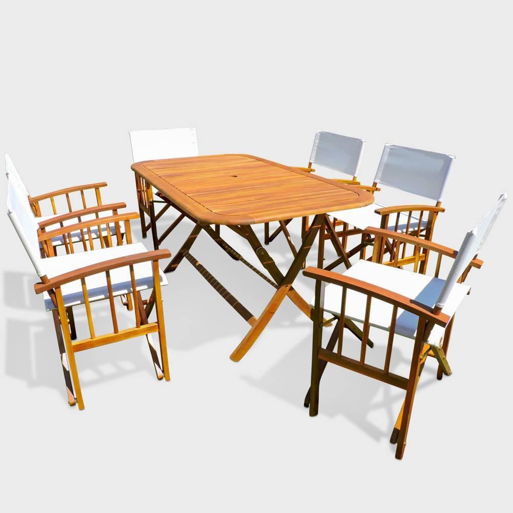Cariati 7pc Acacia Wood Patio Dining Set - Brown - International Caravan