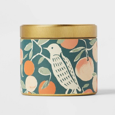 4oz Mini Grab Tin with Patterned Wrap Label Sugar Spruce Clementine Candle - Opalhouse™