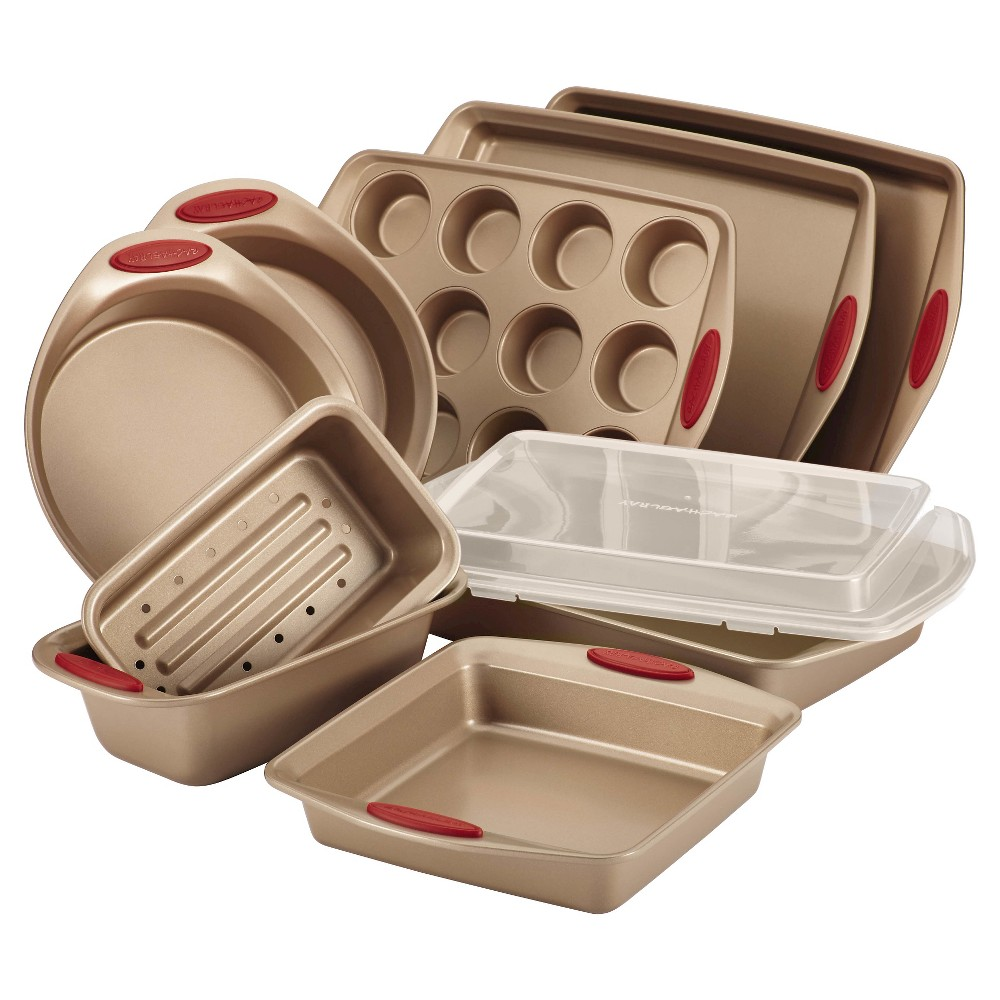 Image of Rachael Ray 10 Piece Nonstick Bakeware Set with Handle Grips - Latte Brown with Cranberry Red