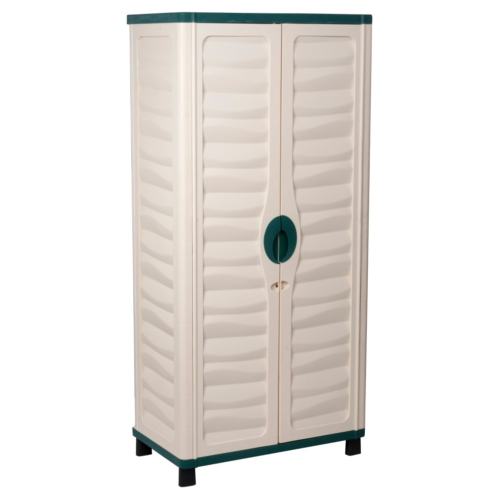 "Image of ""62"""" Cabinet With 2 Shelves - Beige/Green - Starplast"""
