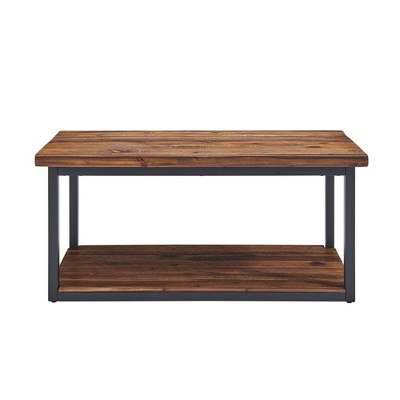 Claremont Rustic Wood Bench with Low Shelf Dark Brown - Alaterre Furniture