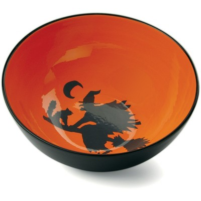 Omniware Orange and Black Halloween Potion No. 9 Orange Earthenware Treat Bowl