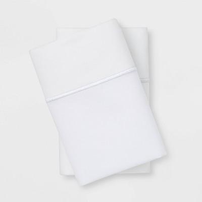 King 1000 Thread Count Solid Pillowcase Set True White - Threshold Signature™
