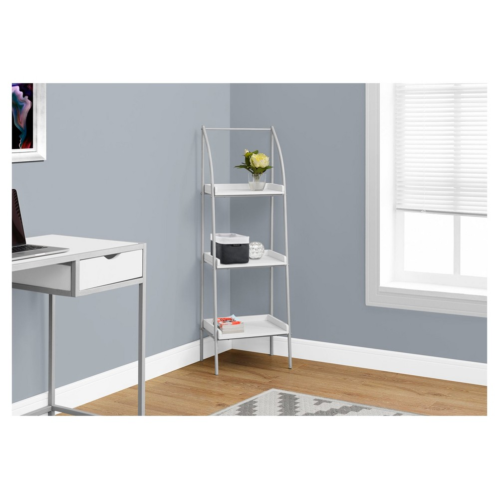 Bookcase Silver Metal & White 48- EveryRoom