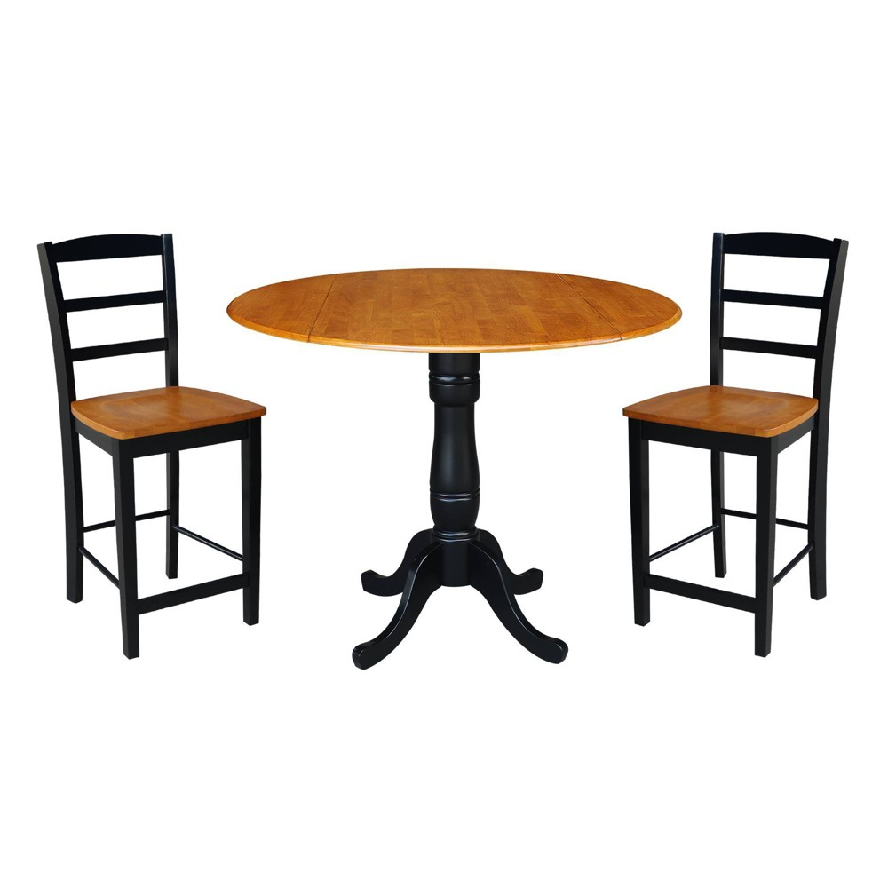 "Image of ""35.5"""" Round Pedestal Gathering Height Table with 2 Counter Height Stools Black/Cherry - International Concepts"""