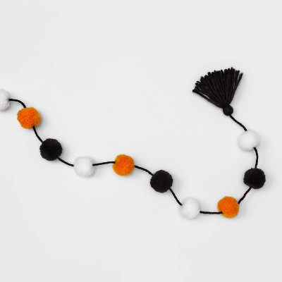 Halloween Garland with Orange/Black Pom Pom - Hyde & EEK! Boutique™
