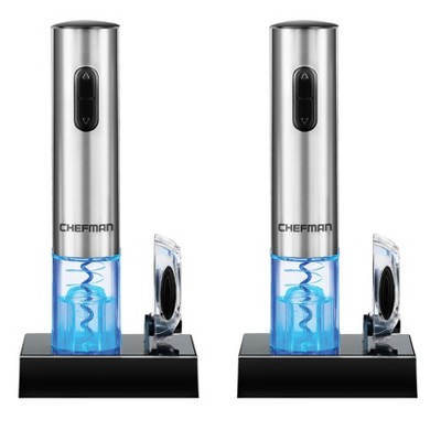 Chefman RJ42-SS Automated Cordless Electric Stainless Steel Illuminated Countertop Automatic Wine Bottle Opener with Rechargeable Battery (2 Pack)