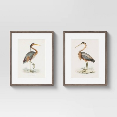 "(Set of 2) 16"" x 20"" Heron Framed Wall Art Blue - Threshold™"