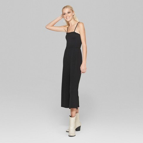 a3968dd1818 Women s Strappy Knit Smocked Top Jumpsuit - Wild Fable™ Black S   Target