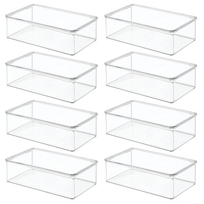 mDesign Plastic Stackable Kitchen Food Storage Box, Hinged Lid, 8 Pack - Clear