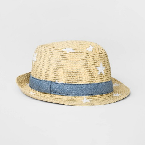 d1f2c476 Girls' Printed Star Paper Straw Fedora - Cat & Jack™ Natural One Size