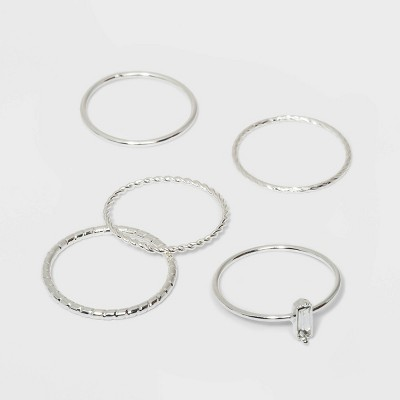 Clear Stone and Four Thin Ring Set - A New Day™ Silver