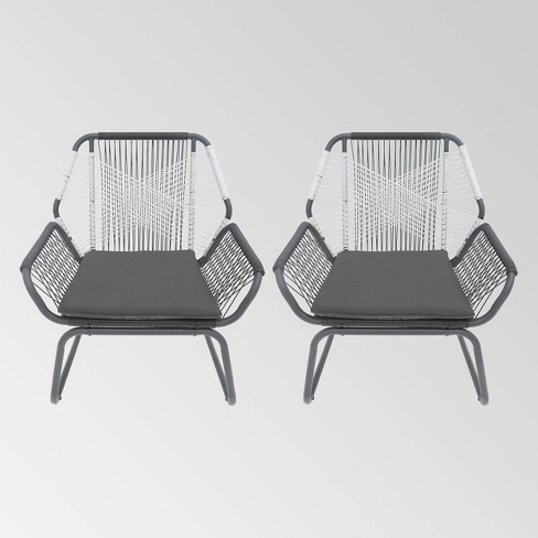 Milan 2pk Steel Club Chairs - Gray/White - Christopher Knight Home - image 1 of 4