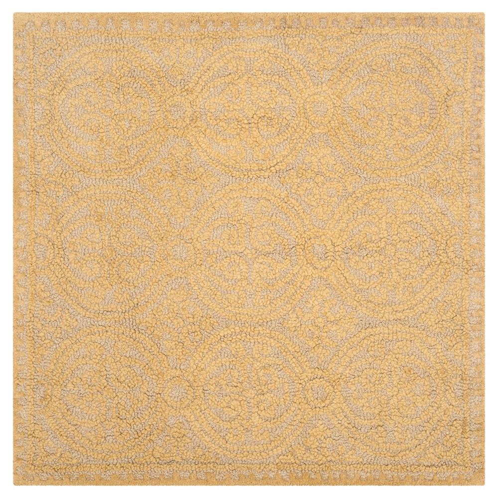Light Gold/Dark Gold Geometric Tufted Square Area Rug - (10'X10') - Safavieh