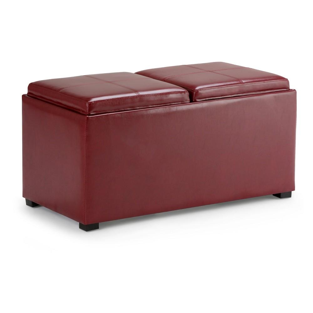 Frankl5pc Storage Ottoman Radicchio Red Faux Leather - Wyndenhall