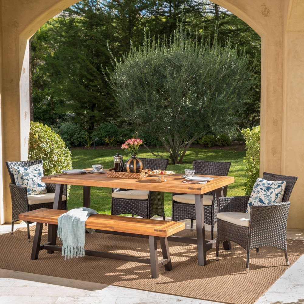 Linden 6pc Acacia Wood & Wicker Patio Dining Set - Brown - Christopher Knight Home
