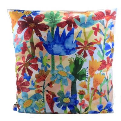 """Home Decor 16.0"""" Folk Art Floral Pillow Flowers Colorful  -  Decorative Pillow"""