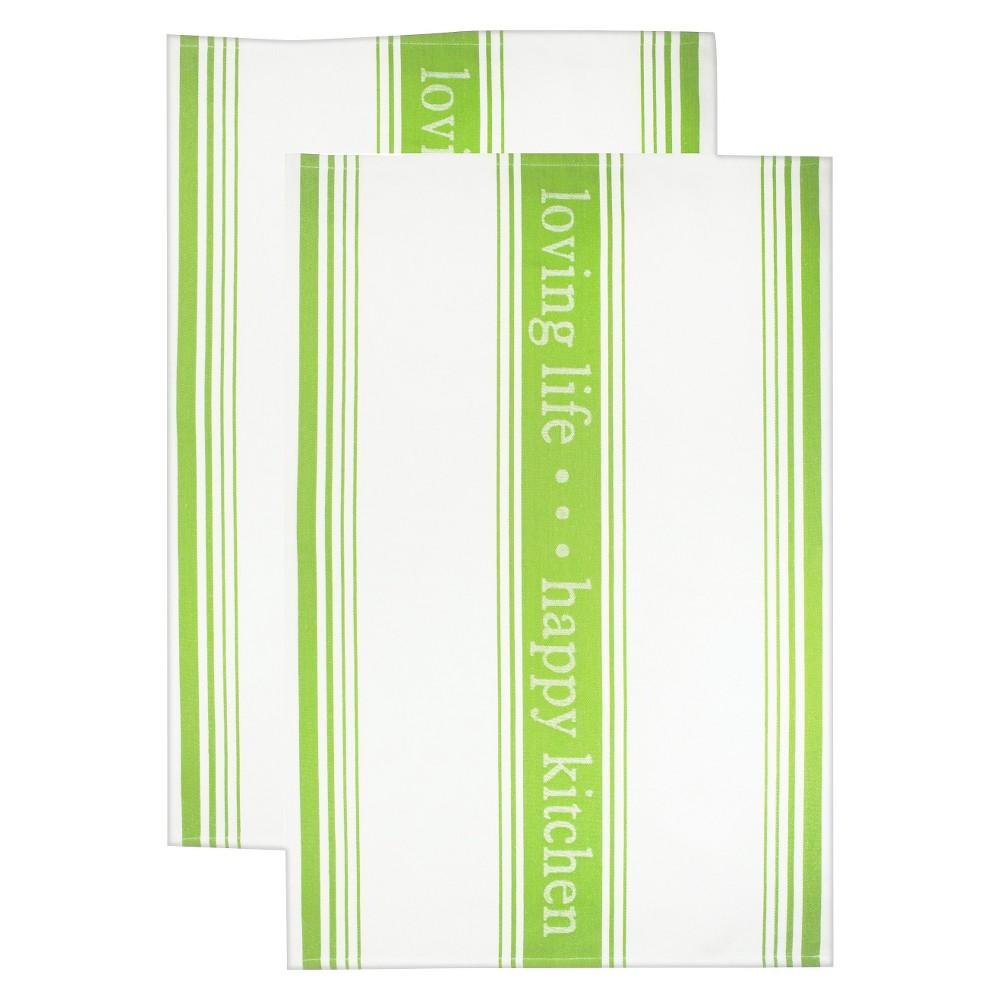 Image of Jacquard Towel 'Loving Life happy Kitchen' Green - Mu Kitchen