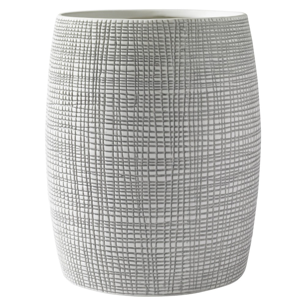 Raffia Wastebasket Gray/White - Kassatex