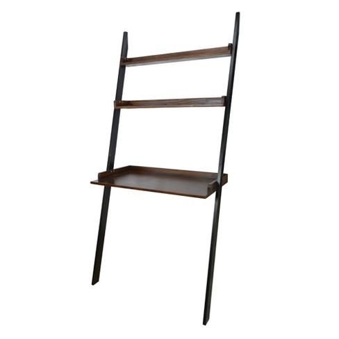 71 Soho Leaning Bookcase Black Mocha Flora Home
