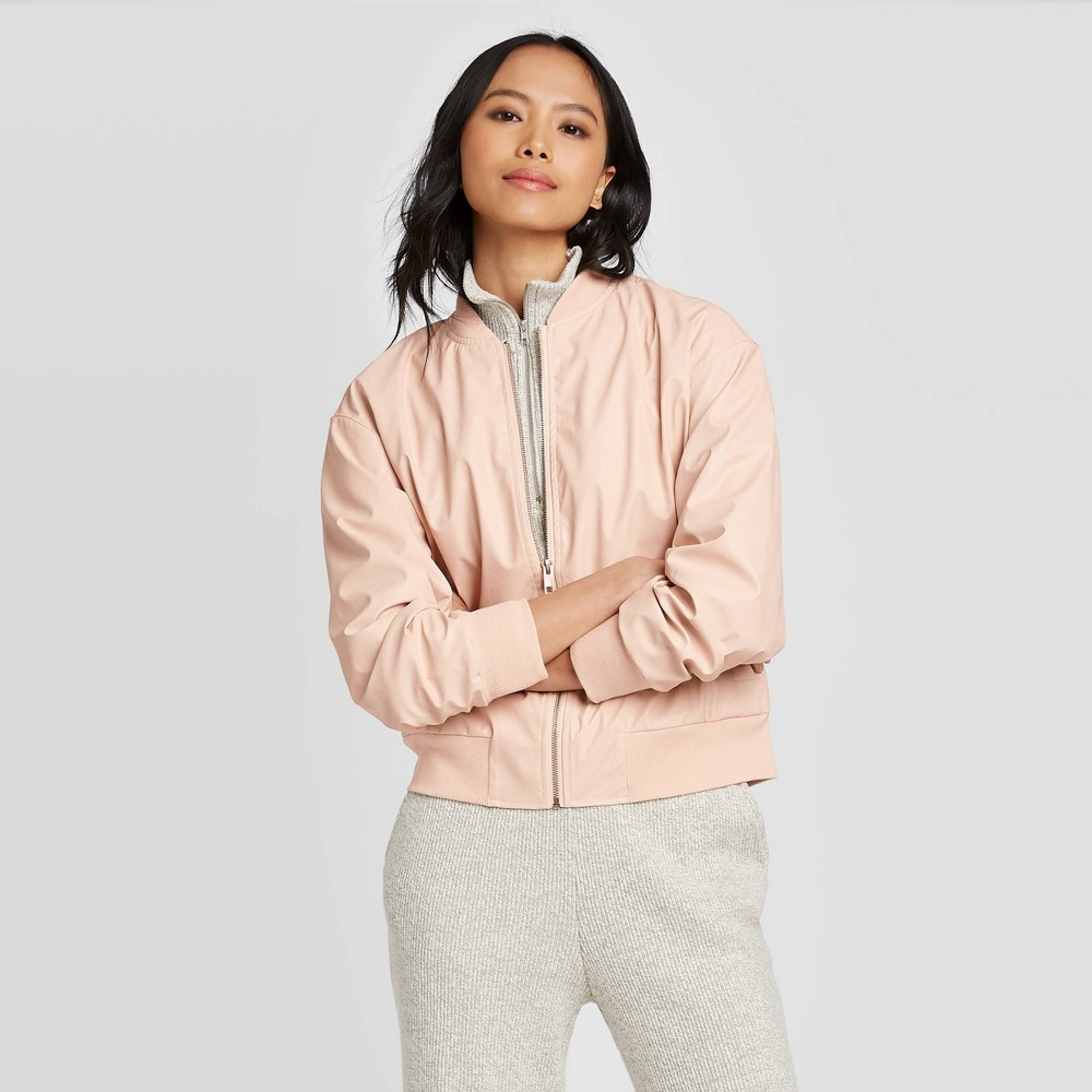 Women's Long Sleeve Faux Leather Bomber Jacket - Who What Wear Peach S, Pink was $49.99 now $34.99 (30.0% off)