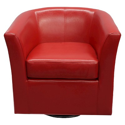 Daymian Faux Leather Swivel Club Chair - Christopher Knight Home