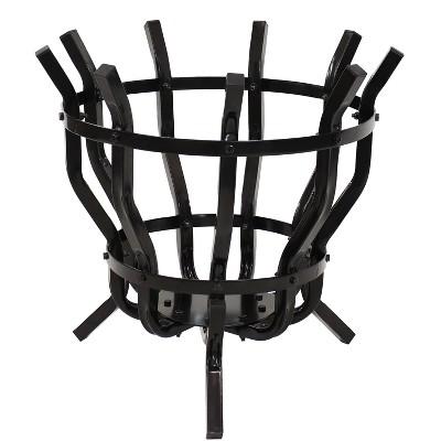 """Sunnydaze Outdoor Steel Modern Fluted Log Holder Basket - 22"""""""