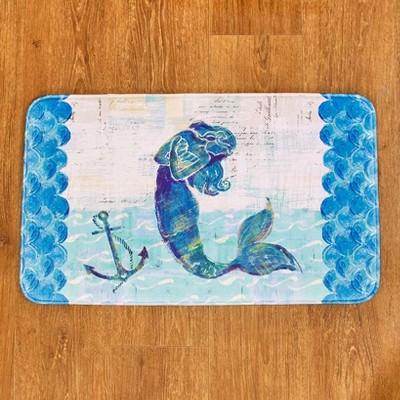 Lakeside Mermaid Memory Foam Bathroom Accent Rug - Nautical Restroom Decoration : Target
