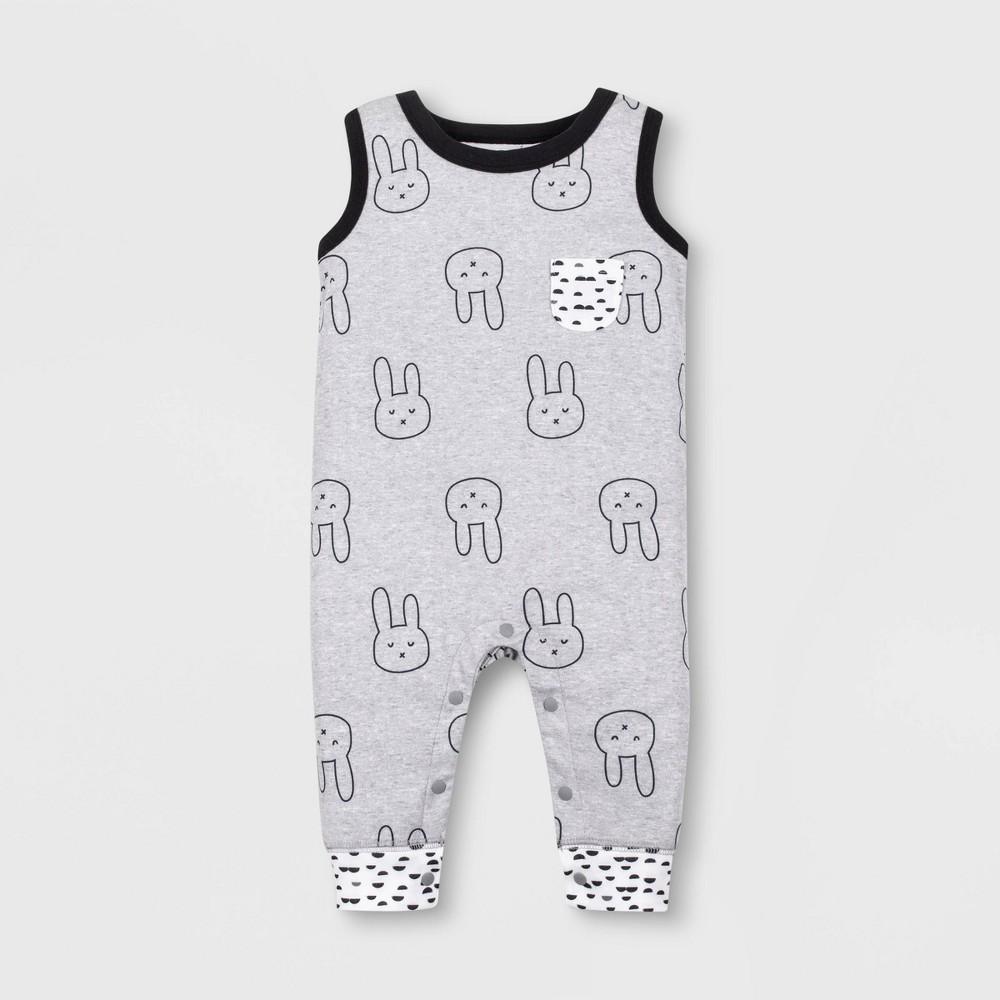 Lamaze Baby Boys' Organic Cotton Bunny Long Romper - Gray 12M