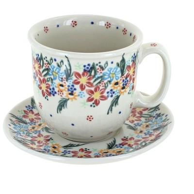 Blue Rose Polish Pottery Tara Coffee Cup & Saucer