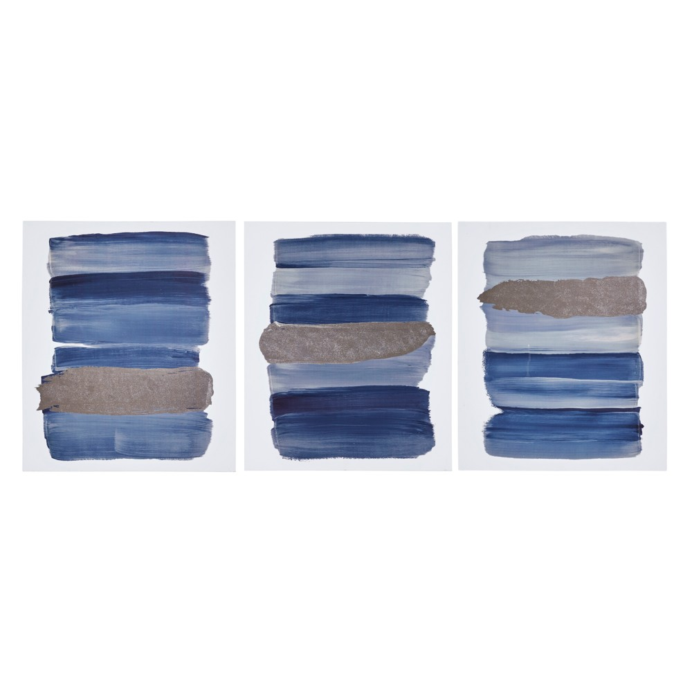 Traveling Road Printed Canvas with Sliver Foil 3pc Navy (Blue) 24