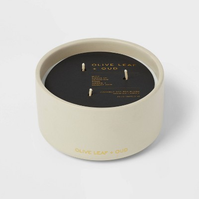15oz Ceremic Jar 3-Wick Black Lable Olive Leaf and Oud Candle - Threshold™