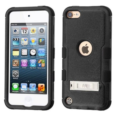 MYBAT For Apple iPod Touch 5th Gen/6th Gen Black Hard Silicone Hybrid Case w/stand