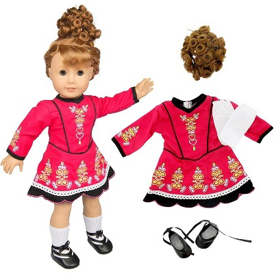 Dress Along Dolly Irish Step Dancing Outfit for American Girl Doll, Brunette Wig