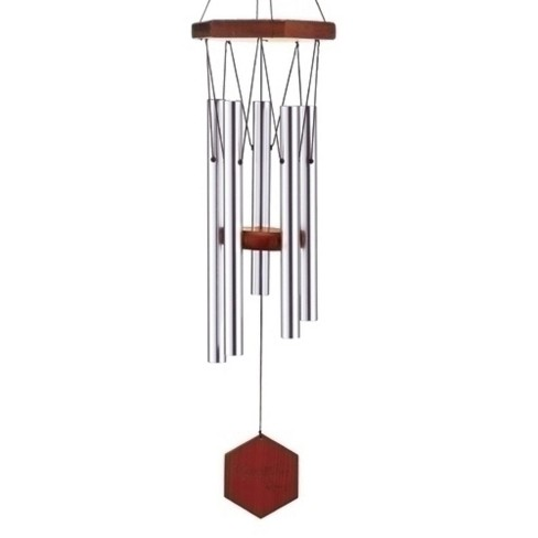 "Roman 26"" Hand-Tuned Triple Sealed Elm Wood Diamond Line Outdoor Patio Garden Wind Chime - Silver - image 1 of 1"