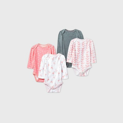 Baby Girls' 4pk Flamingo Parade Long Sleeve Bodysuit - Cloud Island™ Pink/White/Gray 0-3M